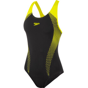 speedo Placement Laneback Badeanzug Damen hex black/fluo yellow